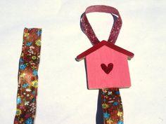 pink birdhouse hair bow hanger hair clip organizer by mylittlebows, $5.00