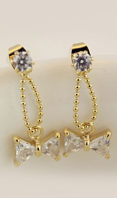 Personalized zircon bow earrings,nice earings
