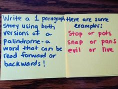 Write a 1 paragraph story using both versions of a palindrome- a word that can be read forward or backward. Here are some examples: stop or pots, snap or pans, evil or live.
