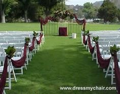 this site has chair covers, tablecloths, runners, all sorts of stuff for decent prices