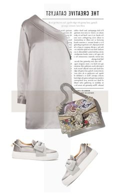 """""""lovelyhard"""" by namelif ❤ liked on Polyvore featuring Michelle Mason, BUSCEMI, fashionWeek, satin and polyvoreeditorial"""