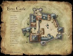 Evrys Castle - Commission for a RPG kickstarter project © M.PLASSE 2015 map cartography | Create your own roleplaying game material w/ RPG Bard: www.rpgbard.com | Writing inspiration for Dungeons and Dragons DND D&D Pathfinder PFRPG Warhammer 40k Star Wars Shadowrun Call of Cthulhu Lord of the Rings LoTR + d20 fantasy science fiction scifi horror design | Not Trusty Sword art: click artwork for source