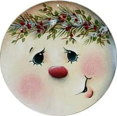 how to paint a easy santa face on decor Painted Christmas Ornaments, Christmas Signs, Christmas Snowman, Christmas Projects, Holiday Crafts, Christmas Decorations, Christmas Plates, Cd Crafts, Snowman Crafts