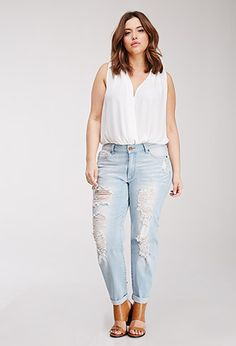 Distressed Boyfriend Jeans | Forever 21 PLUS | #f21plus