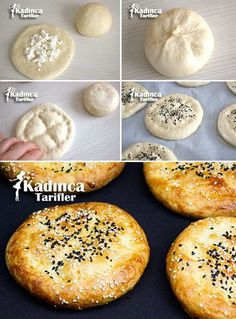 Mini Ramadan Pita Bread Recipe with Cheese, How To? - Womanly Recipes - Delicious, Practical and Delicious Food Recipes Site, Pita Recipes, Cheese Recipes, Bread Recipes, Snack Recipes, Cottage Cheese Salad, Recipe Sites, Turkish Recipes, Easy Salads, Desert Recipes