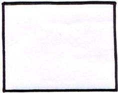 Blank Patch 6x4.75 White Background Black Border Heat Seal Back Biker BLA-0043