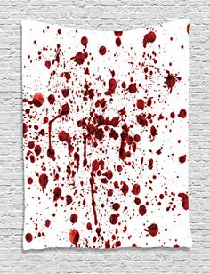 Tapestry Wall Hanging by Ambesonne Splashes of Blood Grunge Style Bloodstain Horror Scary Zombie Halloween Themed Print Bedroom Living Room Dorm Decor 60WX80L Inches Red White *** Click image for more details.Note:It is affiliate link to Amazon.