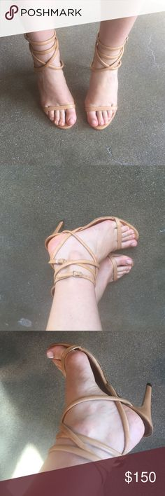 """ISABEL MARANT """"Ren"""" high heel sandals Nude strappy high heeled sandals - France size 40/US size 8.5/9 ---- Box & Dust bags included ---- worn a few times - been re-soled but otherwise in great condition - from one of the Spring Runway collections - wear with everything! Offers considered... Isabel Marant Shoes Heels"""