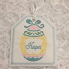Easter Basket Personalized Embroidered Gift Tag, Easter Basket Gift Tag, Embroidered Gift Tag, Easter Egg Embroidered Gift Tag Easter Gift Baskets, Basket Gift, Embroidered Gifts, Easter Eggs, Gift Tags, Favor Tags, Gift Cards, Hamper Gift, Holiday Gift Tags