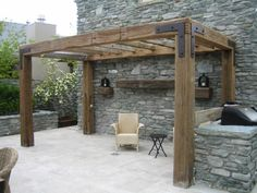 Rustic Timber #pergola - love the simple look but with less roof beams so it doesn't block too much sun. Could extend gate and log wall posts to become pergola uprights.