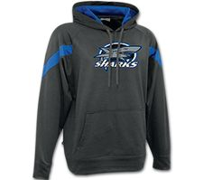 Black & Blue Shark Hoodie.  Both feature pill resistant Air Jet spun yarn. Two-ply hood with matching drawstring.