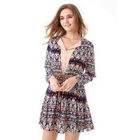 2017 Spring Women Dress  Ethnic Printing Long Sleeve Casual Dresses Retro Plus Size Vestidos
