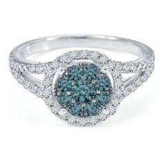 1 ct. tw. Blue & White Diamond Ring in 10K Gold