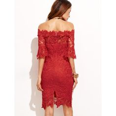 SheIn(sheinside) Red Off The Shoulder Crochet Trim Sheath Dress ($26) ❤ liked on Polyvore featuring dresses, knee length pencil dresses, sheath dress, going out dresses, night out dresses and red dress