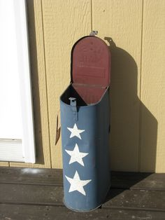 (for Mom & Dad Visits) Outside ashtray with lid... tape the breather holes closed from the inside of the mailbox with medical tape or duct tape. Fill it with sand. Close the lid when it's not being used.