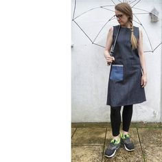 A slightly belated day 18 (yesterday). Sleeveless shift dress in denim from Beginner's Guide to Dressmaking with me-made leggings. Plus a finishing touch of rain. Dressmaking, Rain, Touch, Leggings, Denim, How To Make, Collection, Dresses, Fashion