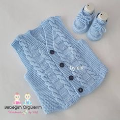 Mesude Yolcu's media content and analytics Baby Knitting Patterns, Baby Sweater Knitting Pattern, Baby Sweater Patterns, Knit Vest Pattern, Baby Hats Knitting, Knitting Stitches, Hand Knitting, Knitted Hats, Crochet Baby