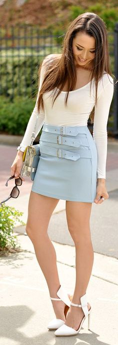 Nasty Gal Candy Blue Triple Belt Detail Badass Skirt by Hapa Time