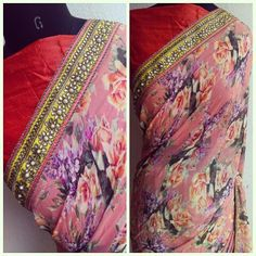 Floral silk sari with kundan borders....pure kundan is simple luxury....