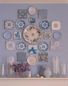 Plate Wall Decor, Plates On Wall, Hanging Plates, Blue And White China, Blue China, Plate Display, Plate Art, Plate Collage, Wall Collage