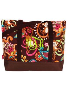 $8.50 Monkey Island Tote Bag with Brown Trim