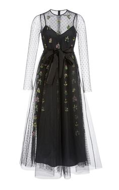 Long Sleeve Embroidered Sheer Dress by RED VALENTINO for Preorder on Moda Operandi