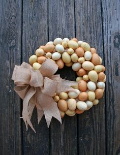 Materials: wreath ring, wire, straw wreath, straw wreath form, eggs, artificial eggs, styrofoam eggs, speckled eggs, burlap ribbon, wired ri...