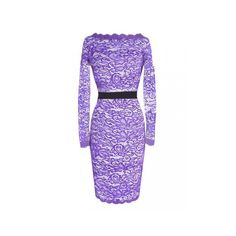 Elegant Women Belted Crochet Lace Long Sleeve Pencil Dress ($22) ❤ liked on Polyvore featuring dresses, purple, long sleeved holiday dresses, sleeve evening dress, sleeved dresses, purple cocktail dresses and purple pencil dress