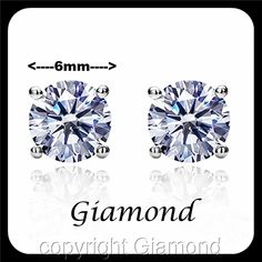 6 mm  Round Brilliant cut Stud Earrings 950 Platinum over Solid Sterling Silver #Giamond #Stud Diamond Stone, Diamond Pendant, Man Made Diamonds, Sterling Silver Earrings Studs, Round Earrings, Vintage Jewelry, Free Advertising, Wedding Inspiration, Traditional