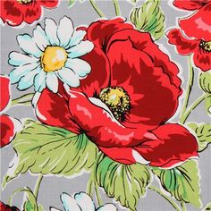 grey Michael Miller flower fabric with poppies.   This does look a little over the top, but it's hard to imagine how big the print is and how it would look in person