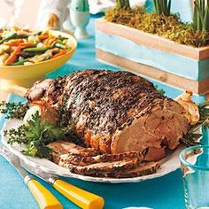 Serve a memorable Easter dinner with Garlic-Herb Roast Leg of Lamb at the center.