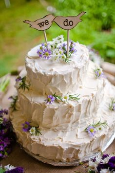 I love the tiny wildflowers on the cake, and the topper is cute too! I also like the messy icing