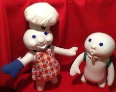 LOT OF 2 PILLSBURY DOUGH BOY DANBURY MINT 1999 Porcelain Dolls Figurines