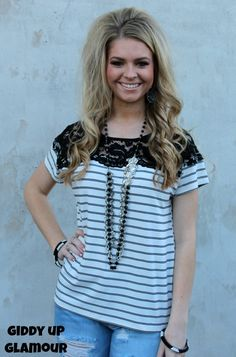 Lines of Love Black and White Stripe Tee with Lace Detailing