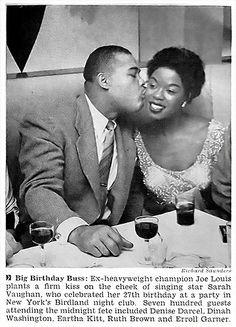 Joe Louis Kisses Sarah Vaughan On Her 27th Birthday - Jet Magazine, April 10, 1952   Flickr - Photo Sharing!