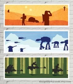 Minimalist recreation series based on the greatest trilogy that's ever been made / Episodes IV, V, and VI / A New Hope – Where everything begins. These are the droids you are looking for. The Empire Strikes Back – the iconic Battle of Hoth, snowspeeders v. AT-ATs. The Return of the Jedi – If you don't like the speeder bike chase scene, then you may be in a coma. Full set for $11 off! / print - poster - art - digital - design - illustration / by DesignsByMyranda on Etsy
