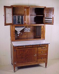 antique bakers cabinet | oak hoosier kitchen cabinet, $1495.00