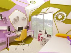 This room was designed by Gemelli Design Studio (from Bulgaria) for a 14 year old girl who likes graphic design.