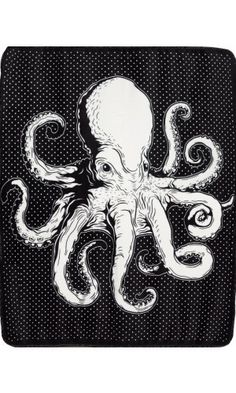 Satin Trim Kraken Blanket