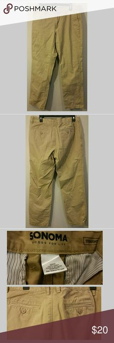 MEN'S SONOMA CHINO PANTS 33/32 EUC BUSINESS CASUAL Excellent condition, worn maybe 3 times total. Now too large. Sonoma Pants Chinos & Khakis
