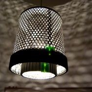 an old truck filter to a lamp shade