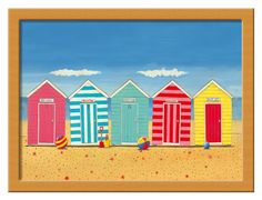 beach huts painted on wall in garden - Google Search