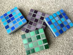 Colourful handmade mosaic coasters www.facebook.com/themosaicqueen
