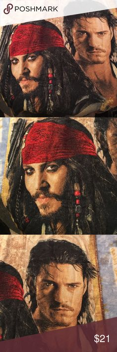Disney's Pirates of the Caribbean Beach Towel Captain Jack Sparrow & Will Turner pics are great on this adult sized beach towel! And who doesn't love Johnny Depp?!  Words are more faded but otherwise this is in great shape! Black red brown yellow white. Disney Swim