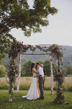 Wedding Arbor, Birch Tree Arbor, Birch Arbor, Tree Arbor, Wedding Ceremony, Rustic Wedding, Outdoor Wedding, Back yard Wedding, Barn Weddings, Farm Weddings, Country Wedding, Love & Wolves Photography, J+V8/13/16, Cullen Creations, www.Cullen-Creations.Com