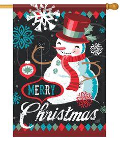 IAmEricas Flags - Merry Christmas Vintage Snowman House Flag, $24.00 (http://www.iamericasflags.com/merry-christmas-vintage-snowman-house-flag/)