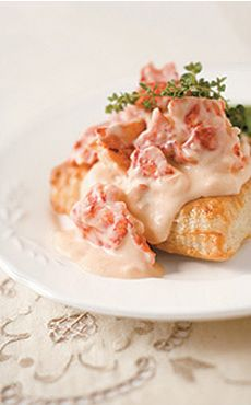 Lobster Newburg served over puff pastry