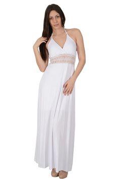 867845d3d1c9 Φόρεμα βισκόζ μακρύ σε ίσια γραμμή με χαμηλή πλάτη και δέσιμο και  λεπτομέρεια από δαντέλα εμπρός