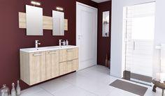 Une salle de bain intemporelle avec un grand volume pour la ranger et l'ordonner. (Cuisines You - Gamme Créative, Modèle Tanaga)