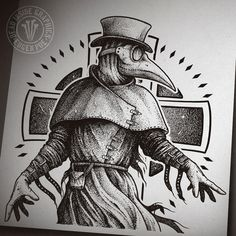 Plague Doctor by DeadInsideGraphics; I promise this will hurt. Tattoo Sketches, Drawing Sketches, Tattoo Drawings, Art Chicano, Chicano Tattoos, Plauge Doctor, Doctor Drawing, Tattoo Bauch, Doctor Tattoo